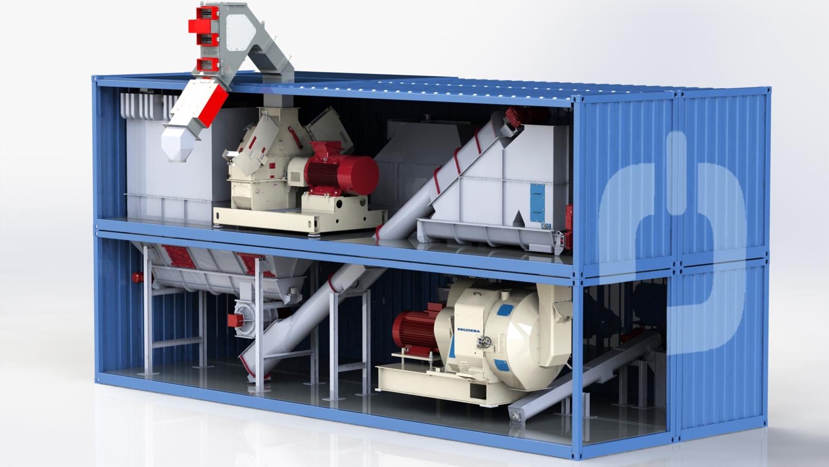 Impianto mobile per la produzione di pellet in contenitori marittimi con produzione 5 t / h