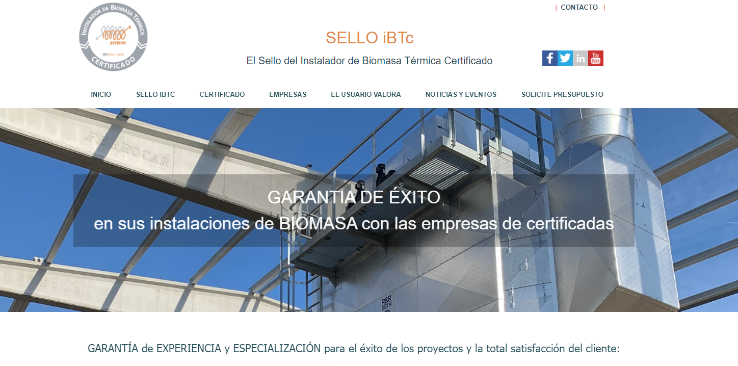 Site do instalador certificado de biomassa